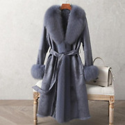Real Double Face Rabbit Fur Coat Mid-length Close-fitting Leather Fox Fur Collar