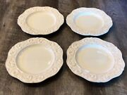 Set Of 4 Jc Penney Home Collection Isabella Salad Plates Leaves Ivory