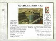 Sheet Cef 1er Day France Day Of Stamp 1974 Surcharge Cfa