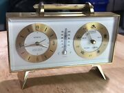 Vintage Semca Brass Travel Alarm Clock W/ Barometer And Thermometer Wind-up Works