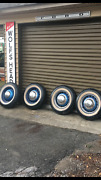 36 Ford Wide 5 Wheels And Tires Caps Ratrod Custom Set Of 4 Antique