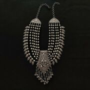 Pure 925 Sterling Silver Necklace Tribal Antique Vintage Jewelry 222