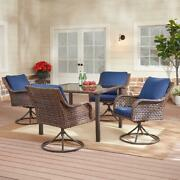 Patio Furniture Set 5-pc Table 4 Swivel Cushioned Chair Outdoor Wicker Dining