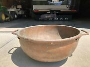 Large 24 Inch Copper Cauldron Basin Pot Kettle With Three Inch Handles