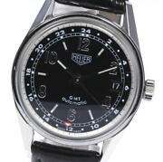 Auth Tag Heuer Watch Classic Carrera Gmt Ws2113 Automatic Black Ss Leather 35mm