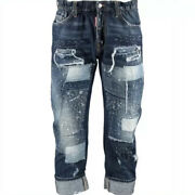£840 Dsquared2 'big Brother Jean'runway Distressed Patchwork Jeans Made In Italy