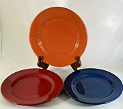 Fishs Eddy Salad Plates Solid Colors Discontinued Pattern Blue Orange Red 3