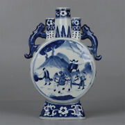 12 Good China Blue And White Porcelain Figure Stories Two Ear Three Tubes Vases