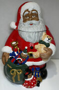 """Jc Penney Home Collection African American Santa Claus Cookie Jar 12"""" Vtg"""