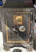 👉450lb👈 Small Antique Safe On Wheels With Combination Painting On Front Door