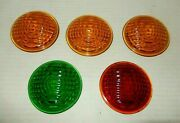 Lot Of 5 Vintage 3 Glass Automotive Tail Light Lens Amber Green Red