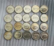 1967 Canada Silver 25 Cents Half Roll 20 Coins Bobcat Toning Luster Au/bu