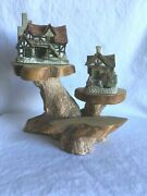 Two David Winter Cottages The Bothy And Muchand039s Mill With Carved Wood Stand