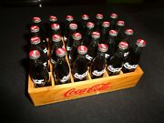 24 Coca Cola Miniature Soda Pop Bottles With Wood Case Full Bottles Doll House