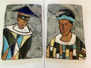 Vintage Mid Century Harris Strong Art Pottery Wall Plaques Harlequin And Jester