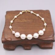 Solid 18k Yellow Gold Tubes With 5pcs 8mm And 10pcs 4mm Seawater Pearl Bracelet