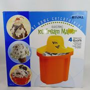 Rival 4 Qt Electric Ice Cream Maker Ice And Rock Salt 8044-or Orange Color