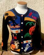 Vintage 90s Ugly Christmas Sweater Cardigan Ghost Pumpkin Scarecrow Black Cat @@