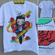 Vintage Betty Boop And Pudgy Born To Ride T-shirt Motorcycle Theme 90s Size L