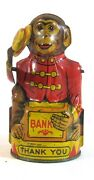 Vintage J. Chein Tin Lithographed Mechanical Monkey Bank Tips His Hat