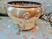 Antique Brass Jardiniere Imperial Russian Hand-hammered W/lion Head Handles Rare