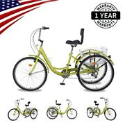 Adult Tricycle 24 7-speed 3 Wheel Tea Green Shopping Bicycle W/ Basket Backrest
