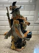 Fitz And Floyd Halloween Harvest Witch With Black Cat Figurine Decoration Retired