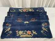 Walter Nichols Imported Art Deco Chinese Prussian Blue Hand Knotted Area Rug 69