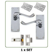 Pairs Of Internal Door Handles - Scroll Lever Latch Set Chrome With Fixings