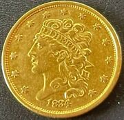 1834 Classic Head 5 Five Dollar Half Eagle Very Nice Looking Early Us Gold