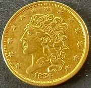 1834 Classic Head 5 Five Dollar Half Eagle Very Nice Looking Early Gold