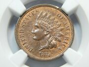 1872 1c Indian Head Cent Ms-64rb Ngc/cac Better Date Original Red/brown