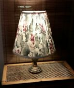 Vintage Pleated Floral Lamp Shade Hardback Uno Fitter Harp Shabby Chic Country