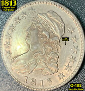 1813 Capped Bust Silver Half Dollar O-105 High Grade Early Die State