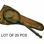 Antique Vintage Brass 8 Magnifying Glass Magnifier With Leather Case Good Gift