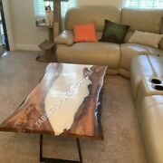 Epoxy Resin Live Edge Acacia Dining Table Top Custom Made Outdoor Table Top Art