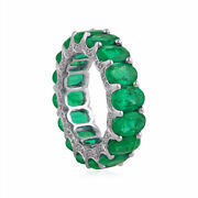 Emerald Eternity Band Ring Natural Diamond Solid 18k White Gold Jewelry