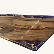 Custom Order Hand Crafted Acacia Bar Counter With Resin River Dining Table Decor