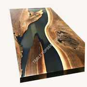 Live Edge Splatted Maple Bar Top With Epoxy Resin Topcoat Dining Table Top Decor