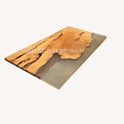 Customized Home Office Work Desk   Epoxy Resin Finish   Solid Acacia Wood Table