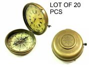 Nautical Antique Maritime Brass Lot Of 20 Pcs Compass Watch Vintage Collectible