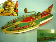 Old Vintage Lightning56 Big Boat With Tail Wing Friction Power Tin Toy Japan F/s