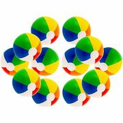 12 Rainbow Colored Party Pack Inflatable Beach Balls - Beach Pool Party Toys