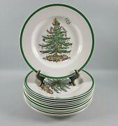12pc Lot Of Spode China Christmas Tree-green Trim Dinner Platessmulti.avail.