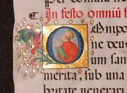 Stunning Illuminated Initial Gold Leaf C.1480 From Missal All Saintsand039 Day Italy