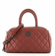 Coco Handle Bowling Bag Quilted Caviar Small