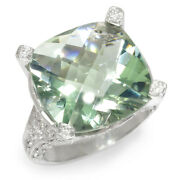 Cushion Cut Green Amethyst Ring With Diamonds 14k White Gold 16.50ctw