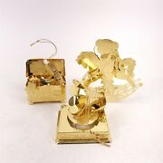 3 Vintage 3d Gold Tone Christmas Ornaments Rocking Horse Toy Box Phonograph