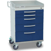 Detecto Wc33669blu-l 5-drawer Whisper Medical Cart Blue With Accessories