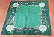 Vintage Card Table Cover - Fox Hunt Theme Handstitched - 35 X 35